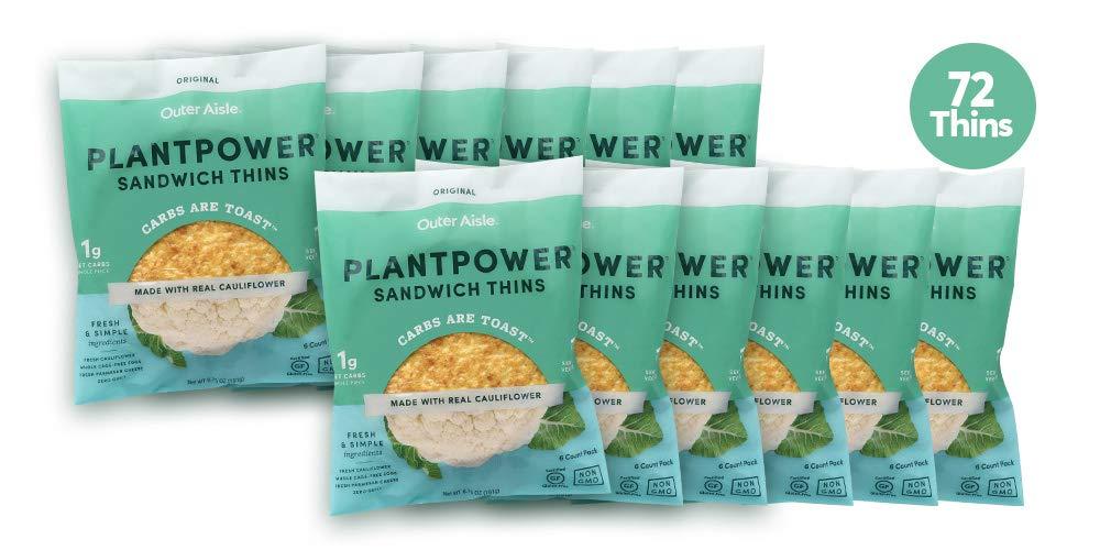 Outer Aisle Gourmet Cauliflower Sandwich Thins   Low Carb, Paleo Friendly,  Keto   Original, 4 pack - 24 Thins