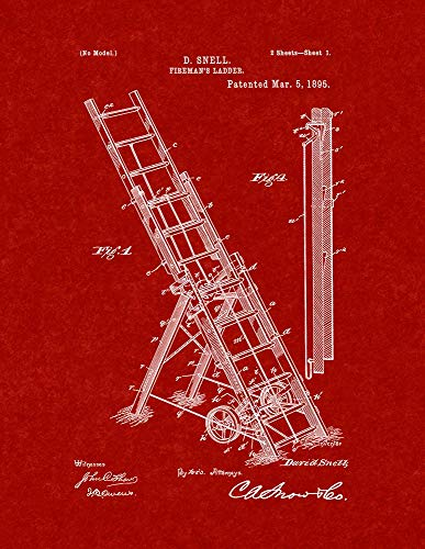 Burgundy Red Art Print - Fireman's Ladder Patent Print Burgundy Red (11
