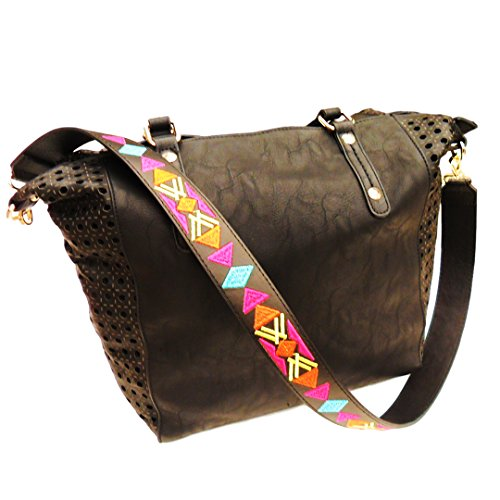 Popular Embroidered Aztec Geometric Black Trim Guitar Strap Replacement Handle Fabric Woven Vegan Leather Purse Shoulder Handbag Accessory Back to High School College Gift Idea Her Woman Teen Girl by TravelNut (Image #3)