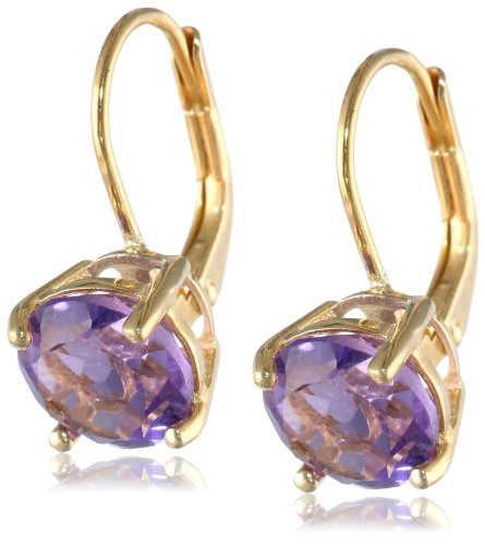 - Gold Plated Sterling Silver 8mm Round Lever Back Amethyst Earrings