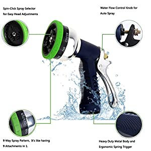 Garden Hose Nozzle - 9 Way Spray Pattern - EveShine Metal Hand Sprayer Watering Nozzle with Washers- for Car Wash, Washing Dogs & Pets, Cleaning, Watering Lawn and Garden
