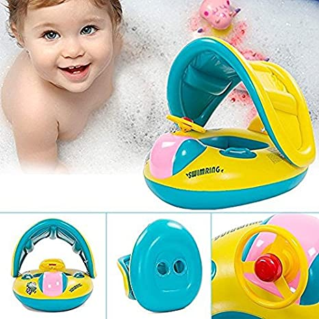 Amazon.com: Baby Floats for Pool with Canopy ,Inflatable Swimming Pool Boat for the age 1-3: Toys & Games