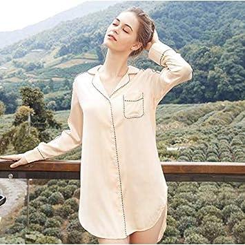 OLLOLCCY Camisa de Dormir para Mujer, camisón de satén Camisa de Dormir de Manga Larga Camisón para Mujer Ropa de Dormir con Botones Ropa de Dormir Ropa de Dormir,1,S: Amazon.es: Deportes y
