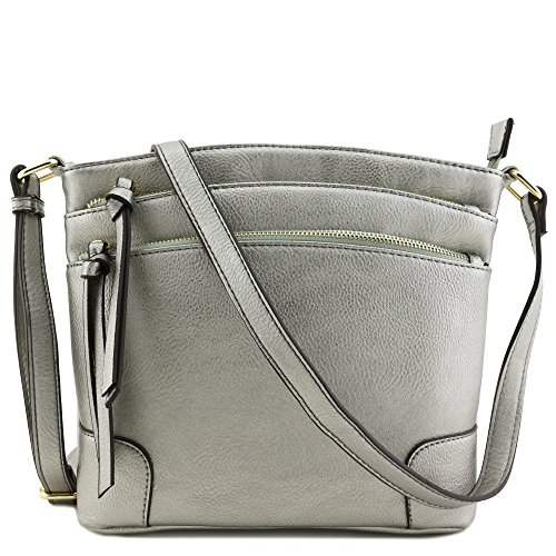 Triple Zipper Pocket Medium Crossbody Bag Light Pewter (metallic silver) ()