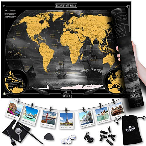 (tetonQ Scratch Off Map World Travel Poster, Stunning Design, X-Large 35