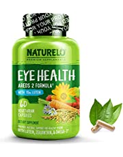 NATURELO Eye Vitamins - AREDS 2 Formula with Lutein, Zeaxanthin, Natural Vitamin C, Zinc - Best Supplement for Dry Eyes, Vision Preservation, Eye Health, Macular Support - 60 Vegan Capsules