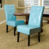 Christopher Knight Home 214522 Alexander Teal Bonded Leather Dining Chair (Set of 2), Blue