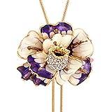 "Enamel Flower Long Chain Pendant Necklace for Women Adjustable Length ""37"""