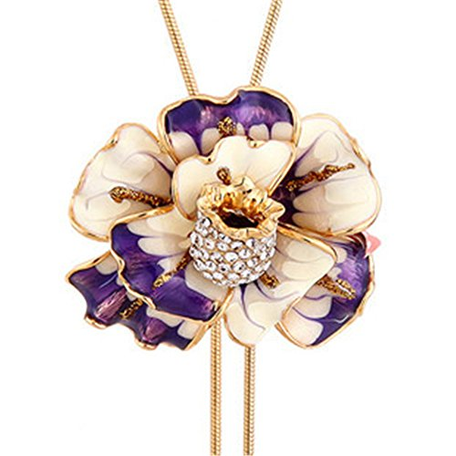 Rusty Orchid - Enamel Flower Long Chain Pendant Necklace for Women Adjustable Length