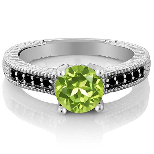 Gem Stone King 1.52 Ct Round Green Peridot and Black Diamond 925 Sterling Silver Women's Engagement Ring (Size 7)