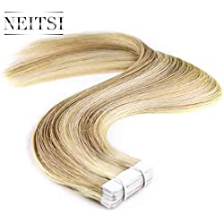 Neitsi 20pcs/pack 100% Tape in Human Hair Weft Extension Straight Glue Hair Weft (16inch, P18/613)