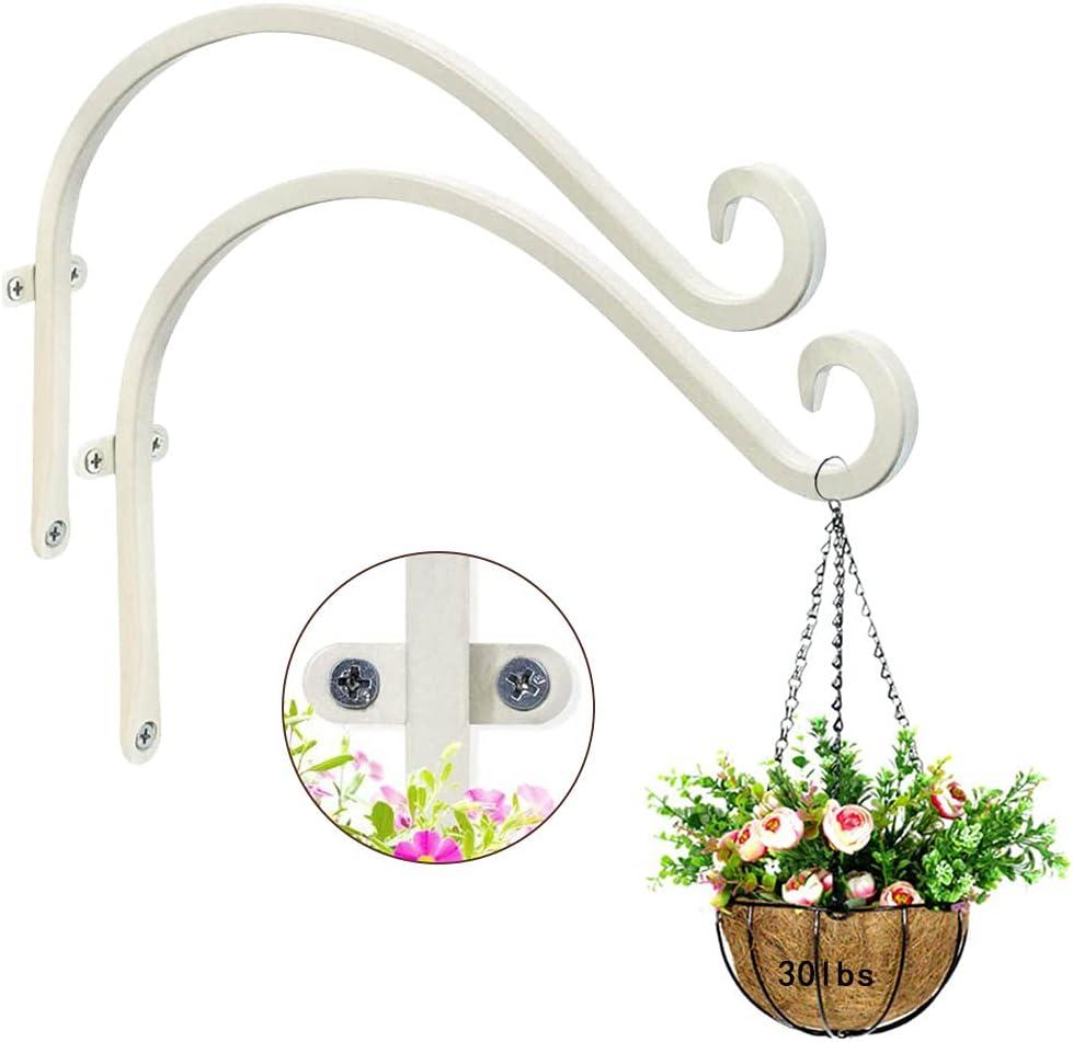 "2 Pcs 12"" Plant Hanger Bracket, Hanging Planter Hooks, for Outdoor Bird Feeders Hanger, Hanging Solar Lights, Mason Jars, Plant Hangers, Christmas Lights, Lanterns, Garden Stakes and Weddings"