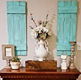 Turquoise Rustic Wood Shutters Set of 2