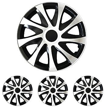 Tapacubos – Tapacubos Tapacubos DRACO bicolor blanco y negro 15 pulgadas 15 R15 Opel Kadett