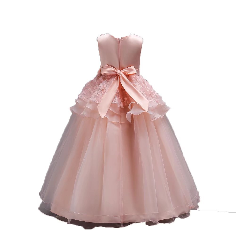 e2c0722a723 Amazon.com  ZaH Little Big Girls Long Lace Princess Party Dresses Elegant  Maxi Gowns Pageant Party Wedding Bridesmaid Prom Communion  Clothing