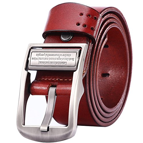 Lecxci Leather Casual Bridle Buckle