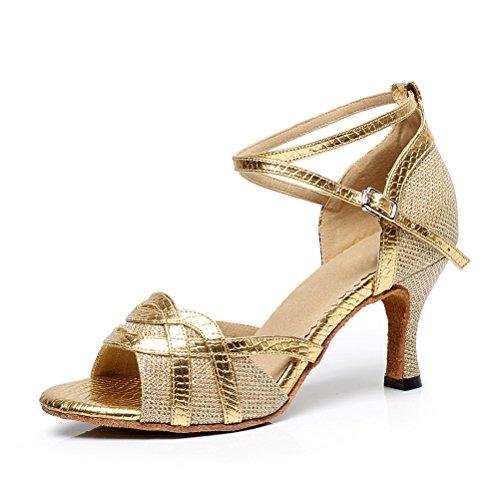 and Ballroom Tango Gold for 2 Ladies Party Heels Salsa Open Wedding Shoes toe Heel Dance Practice CXS 75 17UqRwxpWW