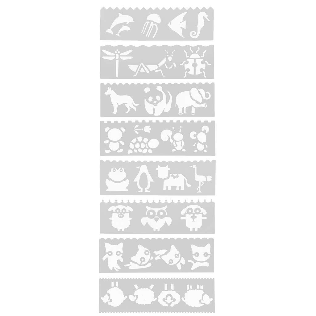 SM SunniMix 絵画ステンシル漫画動物掲示板 8パターン絵画テンプレート、洗濯可能なテンプレート、子供用クラフト。 9f039bdf26b781725b3118c876f8d812 B07JM183BC Cartoon Animal