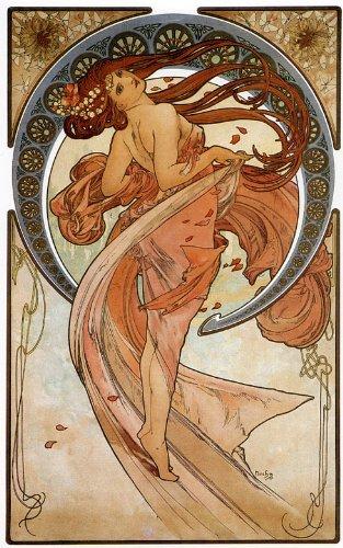 Mucha Art Nouveau Poster - 1898 Dance Lady Girl By Alphonse Mucha Was a Czech Art Nouveau Painter and Decorative Artist 14
