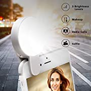 Selfie Light Ring,Juhefa Clip-on LED Camera Light,Rechargeble & 3-Levels Brightness Photography Light Compatible with iPhone, iPad, Sumsung Galaxy,Cell Phone,Laptop (White,1 Pack)