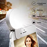 Selfie Light Ring - Juhefa Clip-on LED Camera Light - Rechargeble & 3-Levels Brightness Photography Light Compatible with iPhone - iPad - Sumsung Galaxy - Cell Phone - Laptop (White - 1 Pack)