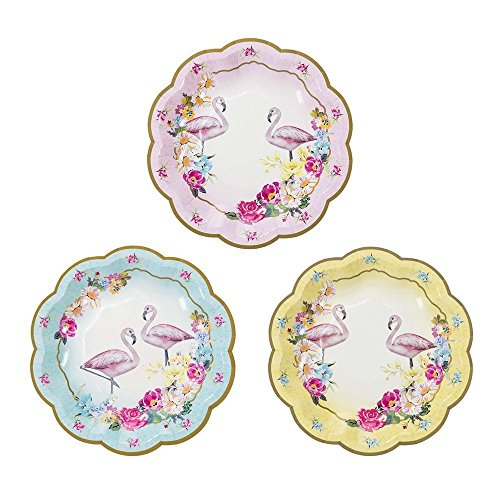 Talking Tables Truly Flamingo 7 Floral Flamingo Paper Plates in 3 Designs for a Birthday or Flamingo Party, Blue/Pink/Yellow (24 (Yellow Floral Plate)