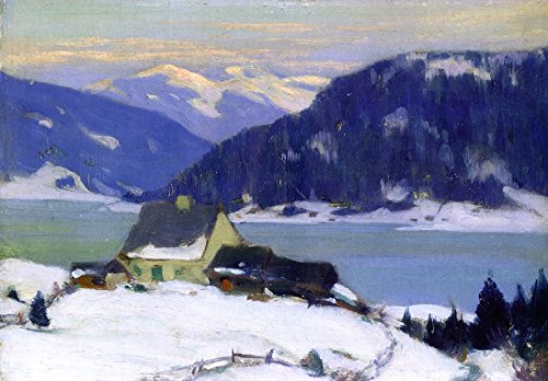 "Clarence Gagnon Lac de Charlevoix Private Collection 30"" x 21"" Fine Art Giclee Canvas Print Reproduction (Unframed)"