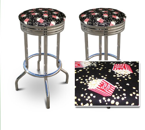 2 24'' Movie Theater Popcorn Snacks Themed Specialty / Custom Barstools Set by The Furniture Cove
