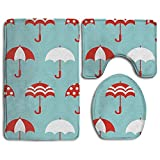 Huayaa Bathroom Non-Skid Carpet Bath Rugs 3 Pieces Set Water-Absorbing Umbrella Wallpaper Flannel Toilet Floor Bath Mats Contour Rug Lid Cover