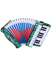 Instrument akordeonowy akordeon dla dzieci zabawka akordeon, 17 kluczy 8 basowy akordeon fortepianowy, świetny prezent dla dzieci początkujących dzieci, wygodny do noszenia (instrumenty muzyczne dla dzieci) (zielony)