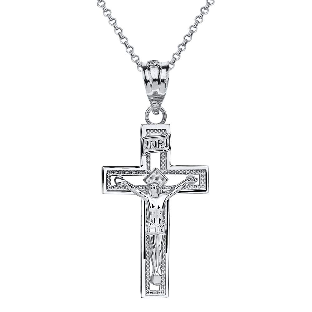 10k White Gold INRI Crucifix Cross Catholic Jesus Pendant Necklace