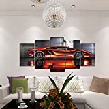 GEVES Framed Wall Art Picture 5 Panels Cool Orange Sports Car Giclee Canvas Print Paintings for Living Room Ready to Hang Home Decor