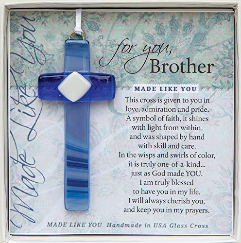 The Grandparent Gift Co. Made Like You Handmade Glass Cross Gift for Brother, Blue