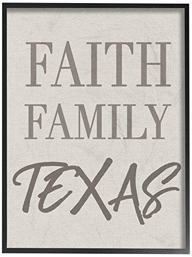 The Stupell Home Decor Collection Faith Family Texas Typography Framed Giclee Texturized Art, 11 x 14 by The Stupell Home Decor Collection