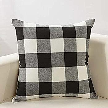 Amazoncom Black And White Plaid Throw Pillow Cover 18 X 18 Inch