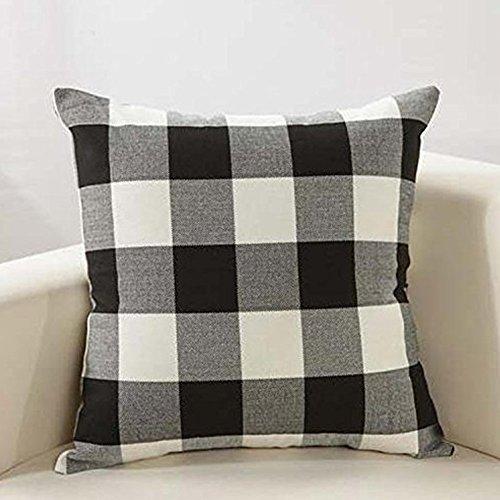 Pillow Checkered (PRAGOO Retro Checkered Pillow Cover Throw Pillowcase Checkers Plaids Cushion Covers Decorative Throw Pillow Case Home Sofa Decor 2pcs (Black White))