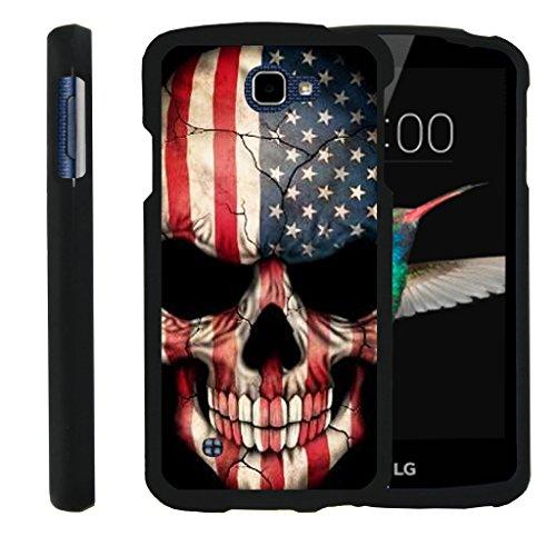 TurtleArmor   LG K4 Case   LG Optimus Zone 3 Case   LG Spree   LG Rebel [Slim Duo] Two Piece Hard Cover Slim Snap On Case on Black - US Flag Skull