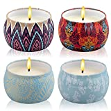Scented Candles Gift Set,LiHome Jasmine,Lavender,Rose,Gardenia,Natural Soy Wax Aromatherapy Candle Gift Set with Essential Oils for Stress Relief and Relaxation,4 Pack(4 OZ)