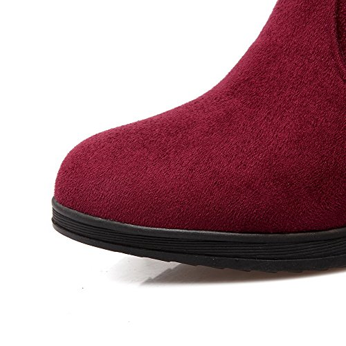 Closed High Women's Frosted Round top AmoonyFashion Low Toe Boots Claret Solid Heels wIZ46q