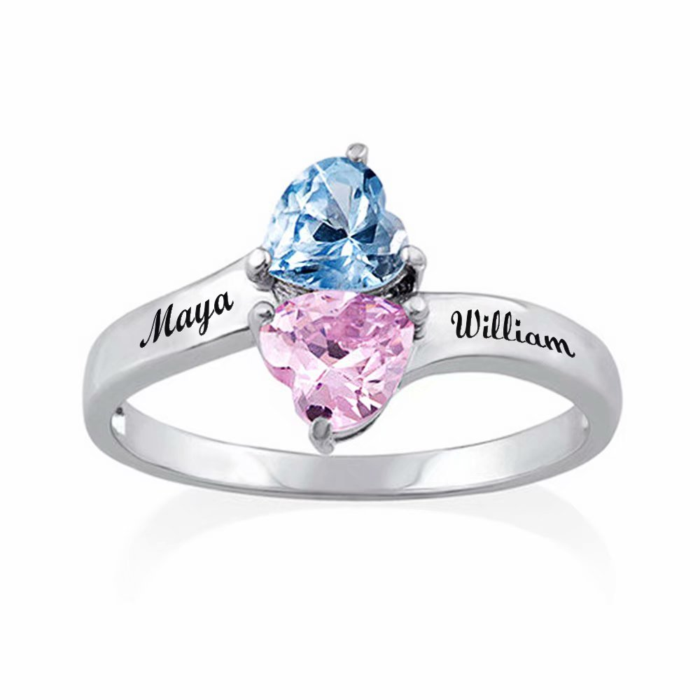 Hua Meng Two Heart Shaped Birthstones Engraved Ring - Personalized Name Ring Promise Rings Made Gift for Her(7)