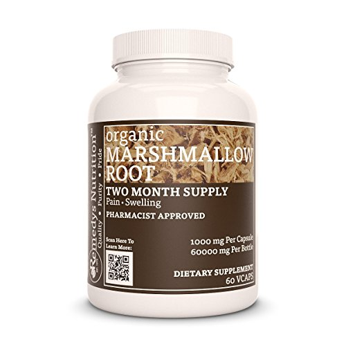 Marshmallow Root Organic Vegan MEGA STRENGTH 1000 mg per capsule / 60,000 mg per bottle organic vegan Vcaps (Althea officinalis)