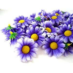 "(100) Silk Purple White Edge Gerbera Daisy Flower Heads , Gerber Daisies - 1.75"" - Artificial Flowers Heads Fabric Floral Supplies Wholesale Lot for Wedding Flowers Accessories Make Bridal Hair Clips Headbands Dress 73"