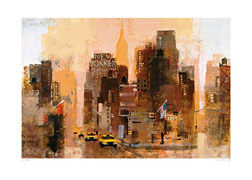 New Yorker & Cabs by Colin Ruffell Print Poster 27.5x19.75