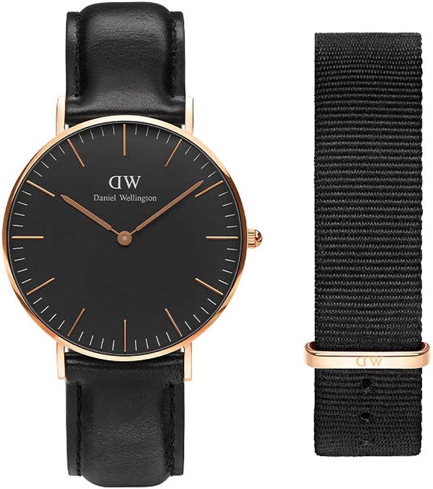 Daniel Wellington Gift Set, Classic Sheffield 36mm Watch with Cornwall Nato Strap