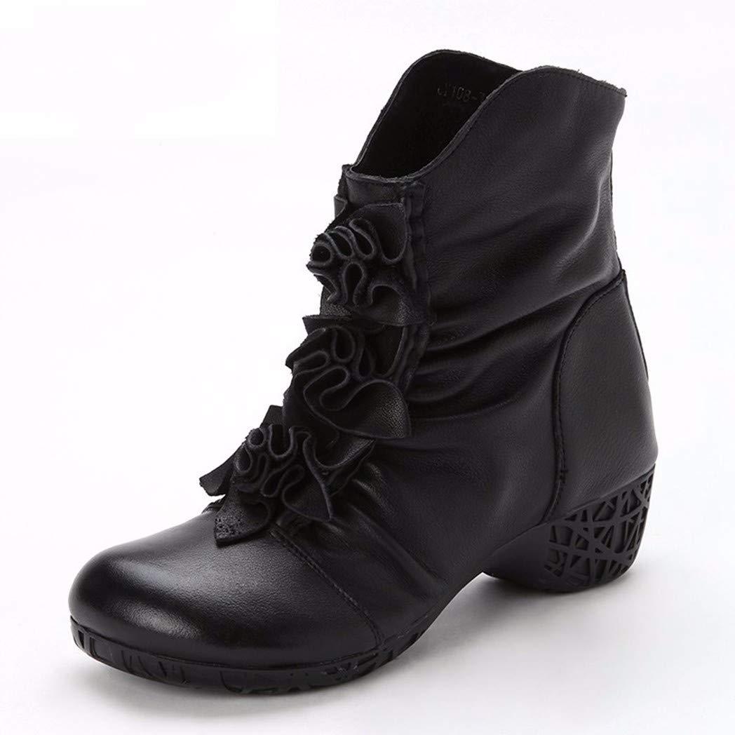 BeatinToes Stiefel Fashion Frauen Schuhe Leder Martin Stiefel Winter Thermisch Rutschfeste Handgefertigte Schuhe Mode Reine Farbe