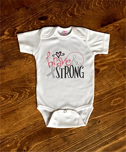 Brave and Strong Cancer Awareness Toddler Kids Tee Shirt or Baby ()