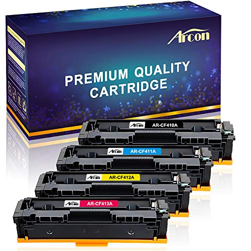 (Arcon 4 Packs Compatible for HP 410A CF410A 410X CF410X Cartridge HP Color Laserjet Pro MFP M477fdw M477fnw M477fdn M477, M452dw M452nw M452dn M452 M377dw Printer Ink (Black Cyan Yellow Magenta))