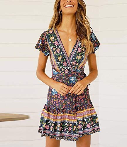 DRESSOLE Women Fashion Floral Print Vintage Wrap Dress Cross V-Neck Ruffle Swing Bohemian Midi Dress-Navy L