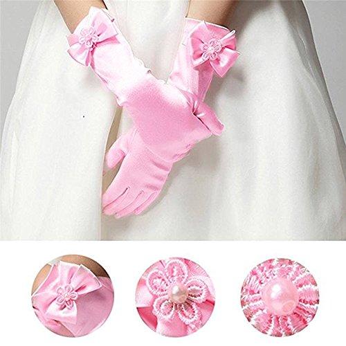 RUNHENG Kids Stretchy Satin Long Finger Dress Gloves (Blue): Amazon.co.uk: Clothing