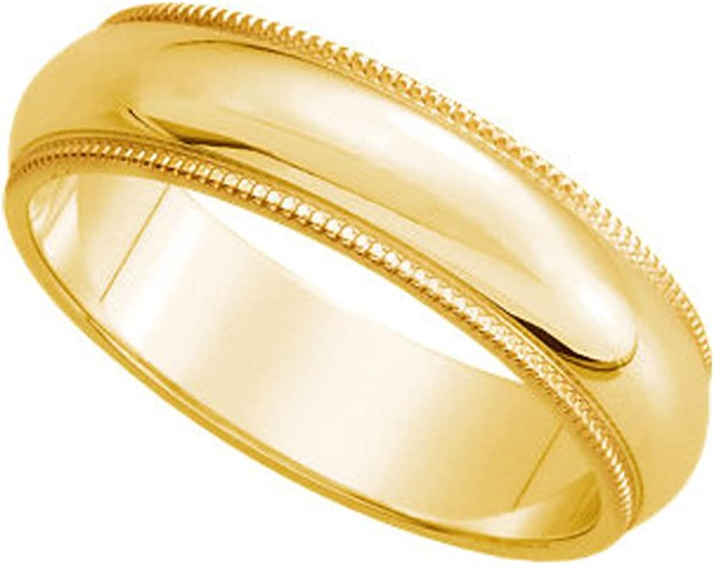 Black Bow Jewelry 4mm Milgrain Edge Domed Light Band in 14k Yellow Gold